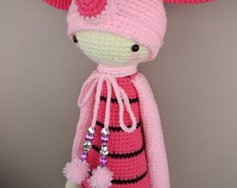 Custom Made Crochet Doll Amigurumi Lalylala Piggy Stuffed Soft Toy Pink Super Cute and Adorable Baby Gift Idea