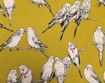 Cute Bird Fabric Pattern from Japan, yellow
