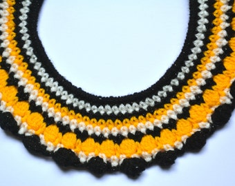 Black, Yellow and White Crochet Collar Necklace