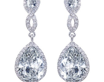 Bridal Earrings, Crystal Wedding Earrings, Teardrop Earrings, Wedding Jewelry For Brides, Silver Teardrop Earrings, Dangle Earrings