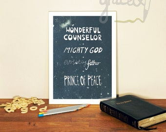 Bible verse A4 print. Isaiah 9:6 dark version