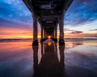 "Manhattan Beach Pier, Landscape Photography, Ocean Art, Metallic Pearl Print, Canvas Print, Wall Art, ""Under"", Sea Surf Sunset California"