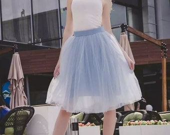Tulle skirt with matching lining, fixed waistband with hidden zipper (color - 30 Periwinkle)