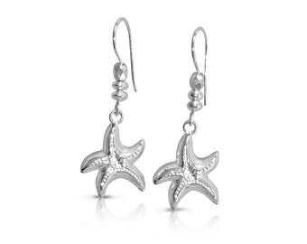 Starfish Earrings, Sterling Silver, Dangle and Drop Earrings, Nautical Jewelry, Mermaid Jewelry, Gifts for Her, Birthday, Holiday, Beach