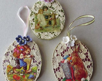 3 Fancy Easter Egg Ornaments Lace Dresdens Scraps Decorations Easter Tree Handmade #J
