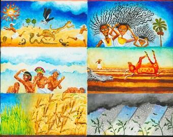 ORIGINAL PAINTING, Jewish art, Judaica wall art, naive art, bible verse wall art, Judaica gifts, israeli art,small canvas art, childrens art