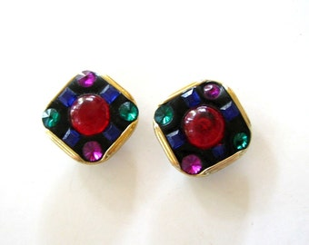 large & tacky 1980s earrings . colorful clip on earrings