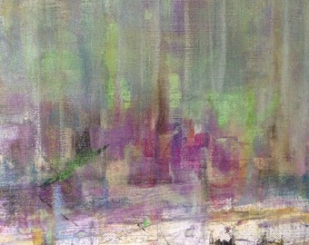 Original Abstract Art Mixed Media Collage/Painting - Soft City Rain