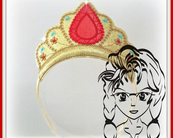 RUBY DiAMOND Hispanic PRiNCESS CRoWN ~ In The Hoop Headband ~ Downloadable DiGiTaL Machine Embroidery Design by Carrie