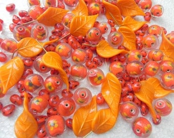 SUPPLIES 50 mix orange beads - Awesome  handmade vintage  finish 15 x 30 mm with hook DISCO Leaves Pendants.