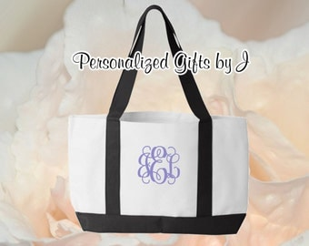 3 Personalized Monogrammed Bridesmaid Bride 2 Tone Tote Bags- Bridesmaid Gift- Personalized Bridemaid Tote - Wedding Party Gift - Name Tote-
