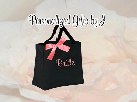 9 Personalized Bridesmaid Gift Tote Bags- Embroidered Tote - Maid of Honor Gift - Name Tote- Mother of the Bride, Mother of the Groom