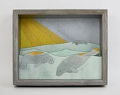 Shiny Islands- printed manatee shadow box- MADE TO ORDER!
