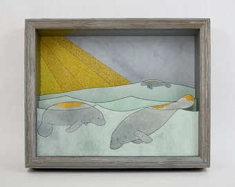 Shiny Islands- printed manatee shadow box- MADE TO ORDER
