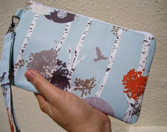 Wedding Clutch 2 pockets,medium,sky blue,birds,bridesmaid, wristlet, cotton- Stamped grove daylight