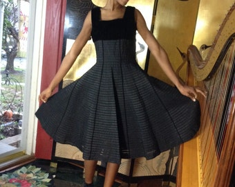 Vintage Black Dress Velvet Ribbon Band Flared Skirt