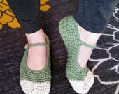 Cozy Crochet Cotton Mary Jane Style Slippers Made to Order