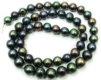 Black Round Freshwater Pearl Beads