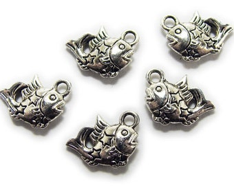 Bali Style Pewter Fish Charms Beads