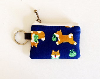 Key/coin purse - Shiba-inu in navy