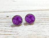 Purple Druzy Studs, Purple Druzy Stud Earrings, Purple Stud Earrings, Bumpy Studs, Glitter Stud Earrings, Purple Druzy in Silver Setting