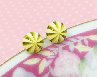 Peppermint Earrings, Tiny Yellow Studs, Yellow Striped Studs, Golden Yellow Studs, Yellow White Studs, Sensitive Ear Studs (SE4)