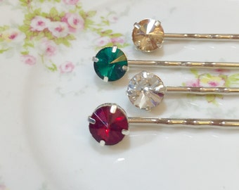 Rhinestone Hair Pins, Christmas Hair Pins, Rhinestone Bobby Pins in Red Gold Silver Green, Festive Hair Pins, KreatedbyKelly