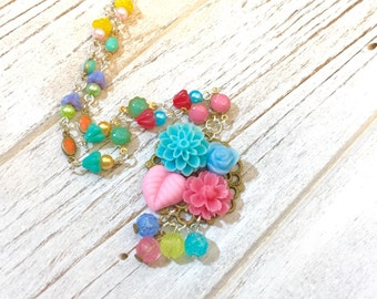 Colorful Floral Necklace, Pastel Beaded Necklace, Assemblage Necklace, Long Beaded Necklace, Czech Glass Flower Necklace, KreatedbyKelly