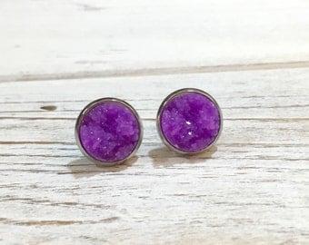 Purple Druzy Studs, Purple Druzy Stud Earrings, Purple Stud Earrings, Bumpy Studs, Glitter Stud Earrings, Purple Druzy in Setting (SE5)