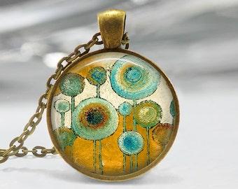 Blue Circle Art Pendant, Abstract Art Pendant ,Abstract Art Necklace, Abstract Art Jewelry, Original Art Pendant, Bronze, Silver, 374