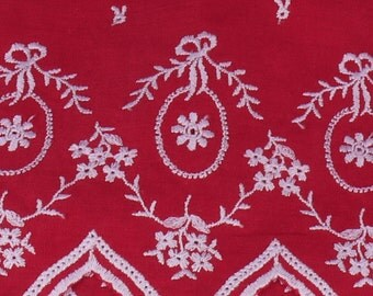 "Red with White Embroidered Edge Fabric - 40"" Wide - 3.5 Yard (PV-854)"