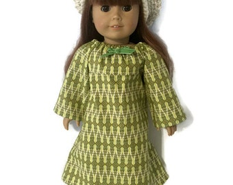 "18"" Bohemian Doll Dress Outfit Clothes Modern Dress Beanie Handmade in USA American"
