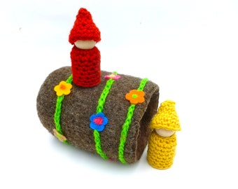 Felted wool log woodland gnomes waldorf inspired