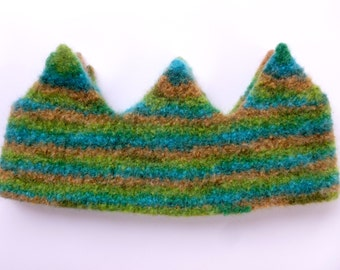 Felted Wool Crown multi colored Birthday crown dress up ready to ship