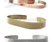 12 brass cuff bracelet stampings, bracelet blank, stamping supplies. Available in  silver, bronze,antique copper.