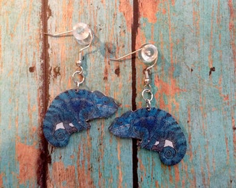 Handcrafted Plastic Panther Chameleon Earrings