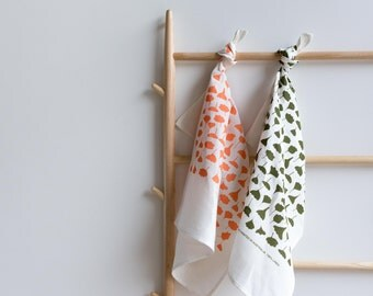 Screen Printed Tea Towel - Flowers and Leaves  on White Linen (ecofriendly peach or olive ink)