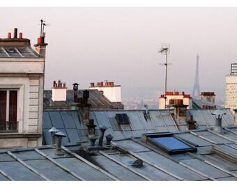Paris Photograph - French Photography - Eiffel Tower Art - Paris Rooftop 1 - Fine Art Photograph - Paris Art - Oversized Print - Home Decor