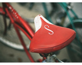 Bicycle Photograph - Bike Art - Schwinn Bicycle - Have A Seat - Fine Art Photograph - Home Decor - Red Print - Bicycle Art - Alicia Bock