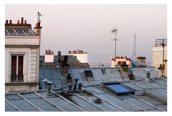 Paris Photograph - French Photography - Eiffel Tower - Paris Rooftop 1 - Fine Art Photograph - Paris Art - France - Purple - Blue - Bock