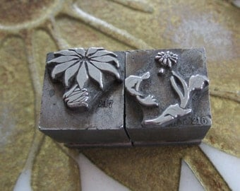 Two Antique Letterpress Printers Blocks 2-Color Poinsettia