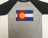 Boys Colorado Flag Baseball Tee - Grey Boys Baseball Te...