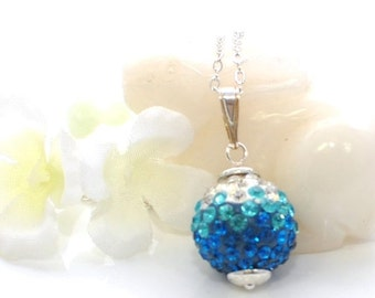 Blue Pave Crystal Necklace Sparkling Chord - Blue Necklace - Crystal Pendant - Gift for Wife