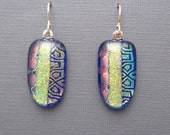 Long Blue gold shield dichroic glass earrings fused glass jewelry sterling silver ear wires dangle drop earrings