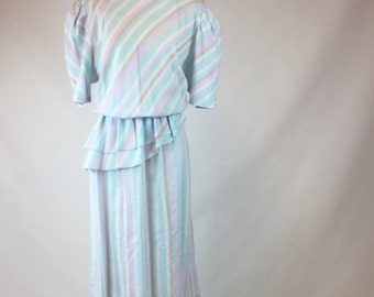 Pastel Rainbow Dress, Diagonal Stripes in Blue, Lavender, Pink, Teal, Tan - Double Ruffle Peplum, White Moonglow Buttons - Large Vintage 80s