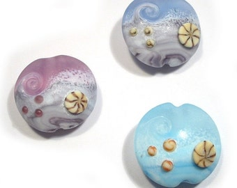 Lampwork Beads, Handmade glass beads, Ocean Beads, Wave Beads, Beach Beads, Ocean Lampwork