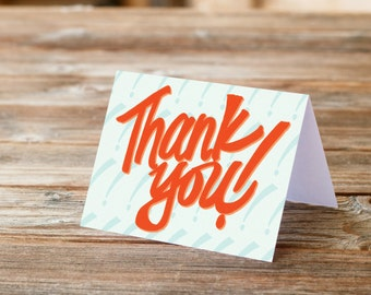 Thank you card set of 8 eight in orange and blue