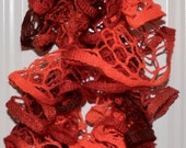 Twirly Whirly Ruffle Ombre Scarf in Shades of Red