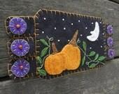 Halloween Fiber Art, Drink Coaster, Pumpkins, Pumpkin Patch, Mug Rug, Fall Decor