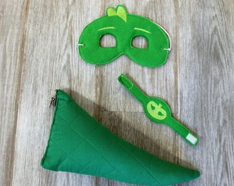 Gekko, Gecko, Bedtime Hero, Green Lizard Superhero Costume. Gekko Tail Mask Bracelet